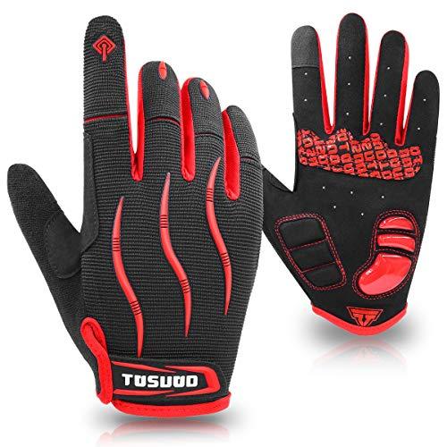 HNOOM Fahrradhandschuhe Vollfinger MTB Handschuhe rutschfeste und Stoßdämpfende Touchscreen Handschuhe Herren Damen Radsporthandschuhe für Radsport Mountainbike Road Race Downhill Wandern (Rot, XL)