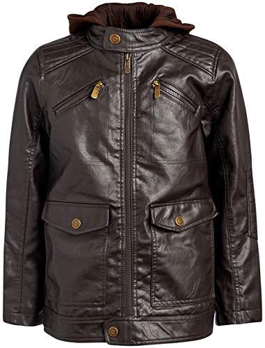 Urban Republic Boys Faux Leather Jacket with Fleece Hoodie (5/6, Brown w/Brown Hood)