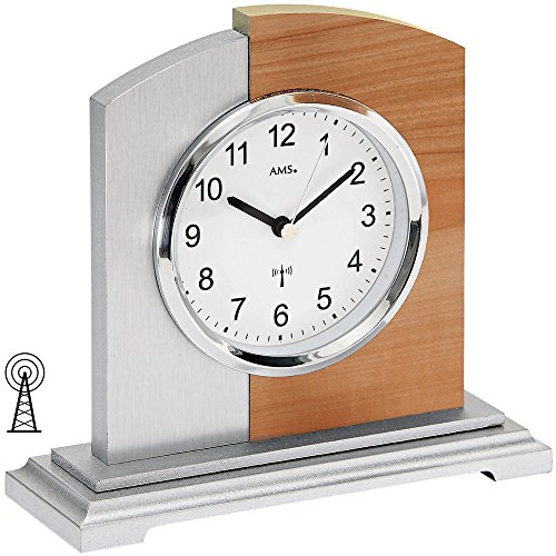 AMS 5146–Reloj de mesa, imitación de madera de haya/aluminio de aplicación en estructura de madera