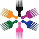 LEADUWAY Hair Pick Comb, Ultra Smooth Fist Hair Picks for Afro Hair, Plastic 6.5 inch Afro Picks for Women and Men, Lift Hair Pick for Curly Hair, Rainbow Set (6 PCS)