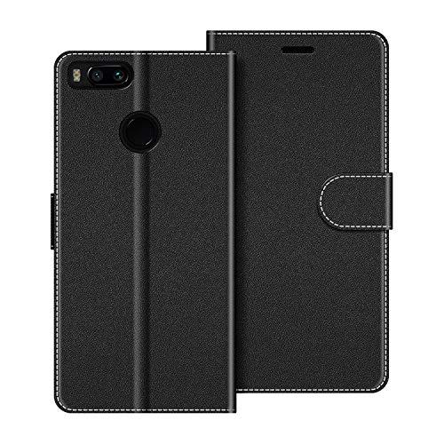 COODIO Handyhülle für Xiaomi Mi A1 Handy Hülle, Xiaomi Mi A1 Hülle Leder Handytasche für Xiaomi Mi A1 Klapphülle Tasche, Schwarz
