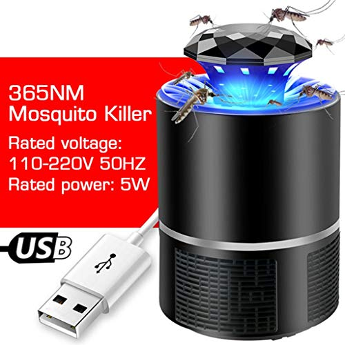 Anti Mosquito Lamp UV LED muggenlamp Electric Insectenverdelger Photocatalyst Mosquito Killer Lamp (Color : Black)