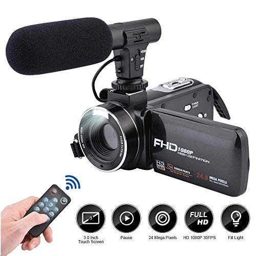 CamKing Videokamera Camcorder, DV02 FHD 1080P 24.0MP 16X Digitale Videokamera mit externem Mikrofon und 3,0 Zoll IPS HD Touchscreen Digitalzoom Kamera Rekorder