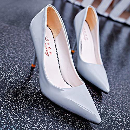 HRCxue Pumps Damen High-Heels Spitze Lackleder Einzelschuhe Damen Stilettos Wilde Mode, hellblau, 37