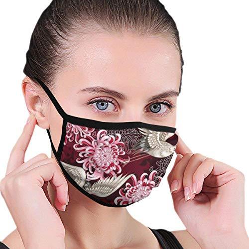 Mundschutz Gesichtssch Japanische Kranich und rosa Chrysantheme Jungen und Mädchen Grafiken Winddichte waschbare Wiederverwendbare Gesichtsbehandlung - Abdeckung für Reisen