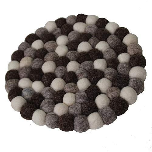 Maharanis Fairtrade Filz Untersetzer Topf Untersetzer kiesel natur hell 22 cm handgefertigt aus reiner Wolle, hitzebeständig