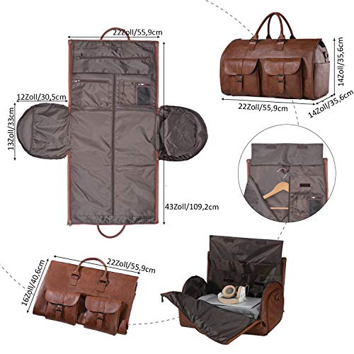 Carry On Garment Bag, Waterproof Mens Garment Bag for Travel Business, Large Leather Duffel Bag with Shoe Compartment