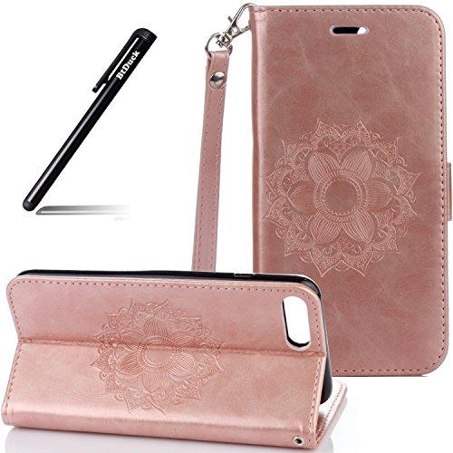 Flip Cover per iPhone 7 Plus 5.5,Custodia per iPhone 7 Plus 5.5 Pelle Fiori,BtDuck Ultra Sottile PU Pelle Retro modello...