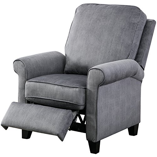 BONZY Roll Arm Push Recliner Chair Semiattached Back Cushion, Slate Gray