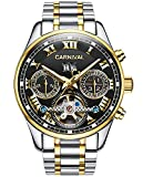 Carnival Men's Automatic tourbillon Multifunction Sapphire Stainless Steel Case and Band Watchband Mechanical Waterproof Black Dial Watch (Black dial with Stainless Steel Band)
