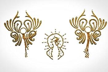 Burlesque Pasties Costume Lingerie Vajazzle - Intimate Classic Crystal Color Vajazzle Nipple & Breast Stick on Jewel Pasties