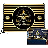 CSFOTO 5x3ft Happy Birthday Backdrop Crown My King Black Gold Birthday Party Background for Photography Cake Table Banner Adults Men Bday Photo Backdrop