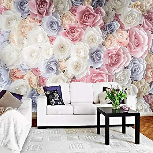 Handgeschilderd 3D Bloem Rose Tuin Foto Behang muurschildering Woonkamer Slaapbank TV Achtergrond Wandbekleding Behang 3D 200 x 140 cm. 200*140cm