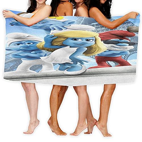 Cute Phones The Pitufos Toalla de baño de microfibra suave de secado rápido, ligera, para baño, playa, natación, gimnasio, 80 x 130 cm