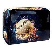 Dragon Sword 化粧ポーチ コスメポーチ メイクケース PVC素材 化粧品バッグ メイクバッグ コスメ収納 化粧道具 収納バッグ 火 燃る 野球ボール