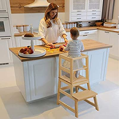 WOOD CITY Learning Tower Toddler Stool, Kitchen Helper Stool for Kids with Non-Slip Mat, Wooden Toddler Stepping Stool for Counter & Bathroom Sink, Natural