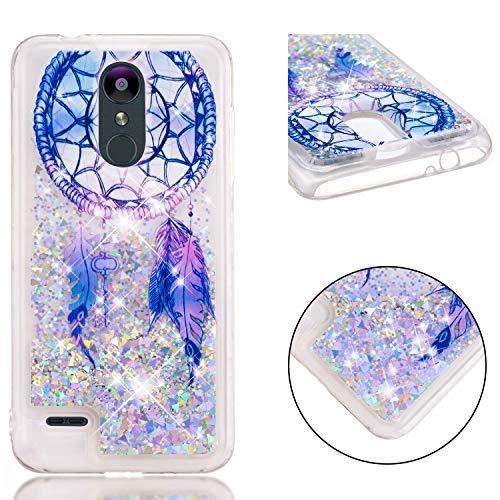 HopMore Silikon Handy Hülle für LG K9 (LG K8) 2018 Hülle Glitzer 3D Flüssig Transparent Kreativ Muster Schutzhülle Durchsichtig Handyhülle Stoßfest Gummi Hülle Cover Slim Bumper - Blauer Traumfänger