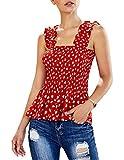 Edjude Camisetas sin Mangas Mujer Verano Floral Fruncido Camisa Volante Elegante Vacaciones Playa Correas Anchas Rojo XL