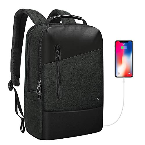 FINPAC Laptop Rucksack mit Diebstahlsicherung, TSA freundlicher wasserabweisender Reiserucksack mit USB-Anschluss, Kopfhöreranschluss für Business College Arbeit Daypack für 15,6 Zoll Laptop Notebook