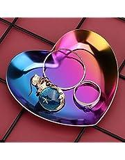 【𝐖𝐢𝐞𝐥𝐤𝐚𝐧𝐨𝐜】 AMONIDA Taca do przechowywania, modna galwanizacja próżniowa naszyjnik ze stali nierdzewnej taca do przechowywania biżuterii, w kształcie serca do przechowywania pierścionków nasz