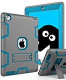 Topsky Schutzhülle für iPad 2 / 3 / 4, inkl. Eingabestift, Bildschirmschutzfolie & Mikrofaser-Reinigungstuch, Grau / Blau