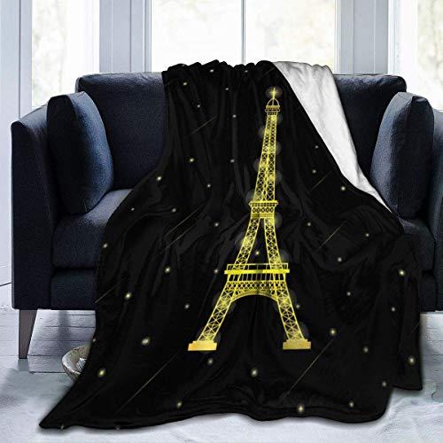 Ahdyr Manta de Felpa de Felpa, edredón Gloden Paris Torre Eiffel con Estrellas cayendo Alrededor, Piel sintética Negra, Suave, cálida, cálida y Ligera, Manta de Microfibra para Cama