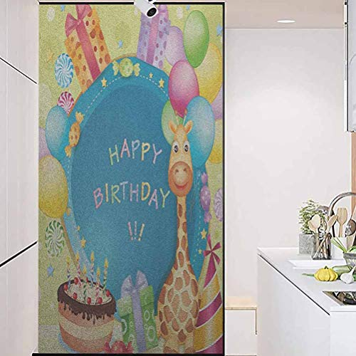 """Heat Privacy Glass Window Sticker, Kids Birthday Congratulation Best Wishes on The Blue C, Home Window Tint Film Heat Control, 17.7"""" Wx35.4"""" Linches"""
