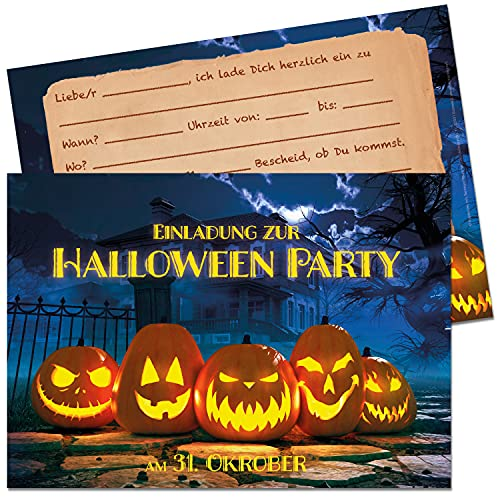 15 biglietti di invito per Halloween, per feste di compleanno, per bambini, per feste di Halloween, set da 15 pezzi, per feste spaventose con ragno, zucca e pistrello