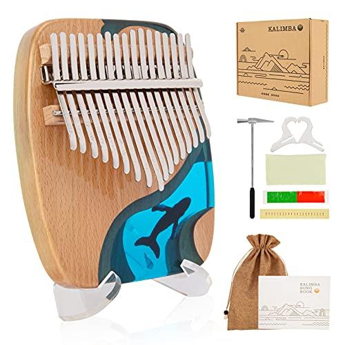 Kimi Kalimba 17 Schlüssel Daumenklavier Thumb Piano Ozeanblau Marimba Instrument mit Tuninghammer und 7 Zubehör für Kinder Erwachsene Anfänger Ideale Geburtstagsgeschenk Valentinstag Weihnachten
