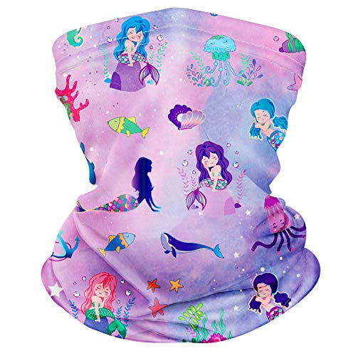 CIKIShield 1pack Children Neck Gaiter Bandanas Kids Face Mask Scarf Balaclavas Wind UV Protection Purple