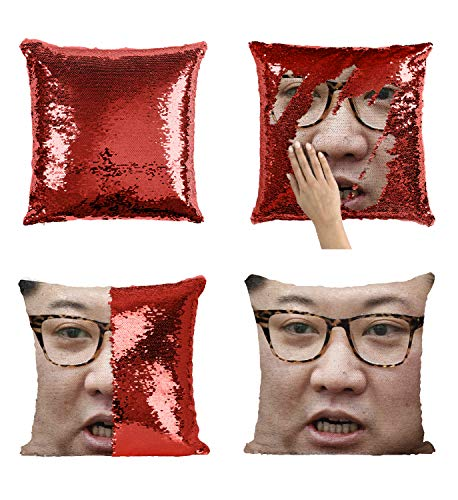 Kim Jong Un Fat Face Illustration_MA0827 Pillow Cover Sequin Mermaid Flip Reversible Scales Meme Emoji Actor Girls Boys Couch Office Sofa (Cover Only)