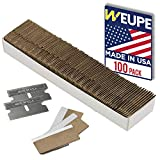 WEUPE Razor Blades Utility: Single Edge Razor Blades 100 Pack, Razor Blade Scraper Refills, Steel Box Cutter Blades USA-Made, Safety Straight Edge Razor Blades, Paint Scraper Razor Blade