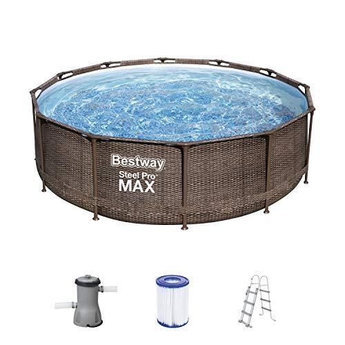 Bestway Steel Pro MAX Frame Pool, 366 x 100 cm, Komplett-Set mit Filterpumpe, rund, braune Rattan-Optik