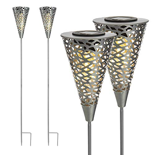 FiNeWaY 2 x Solar 5 Bright LED Silhouette Garden Decorative Stake Light Lamp Xmas - Garden Decoration – Ideal for Flower Bed, Patio, Decking – Waterproof