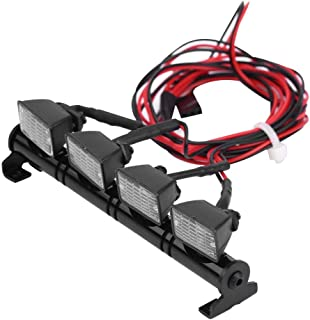 Dilwe RC Car LED Light Bar, 4 LEDs Light Bar Roof Lights Lamp Accessory Part for Axial scx10 Traxxas TRX-4 RC Car(Red+White)