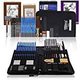 U.S. Art Supply 44-Piece Drawing & Sketching Art Set with 4 Sketch Pads (242 Paper Sheets) - Professional Artist Kit, Graphite, Charcoal, Pastel Pencils & Sticks, Erasers - Pop-Up Carry Case, Student
