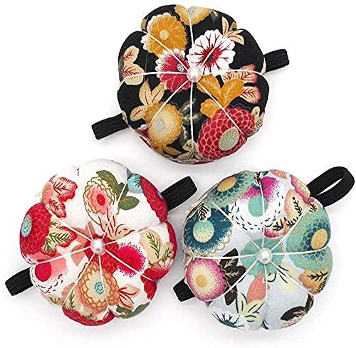 targetone Alfiletero para agujas de muñeca, diseño de flores, para máquina de coser, con forma de calabaza, accesorios de costura, manualidades (rojo, negro y verde, 3 unidades)