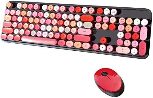 Arcwares Wireless Keyboard and Mouse Combo 2 4G USB Ergonomic Keyboard Cute Round Retro Typewriter product image