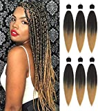 Pre Stretched Braiding Hair 26' 6 Packs EZ Braid Itch Free Synthetic...