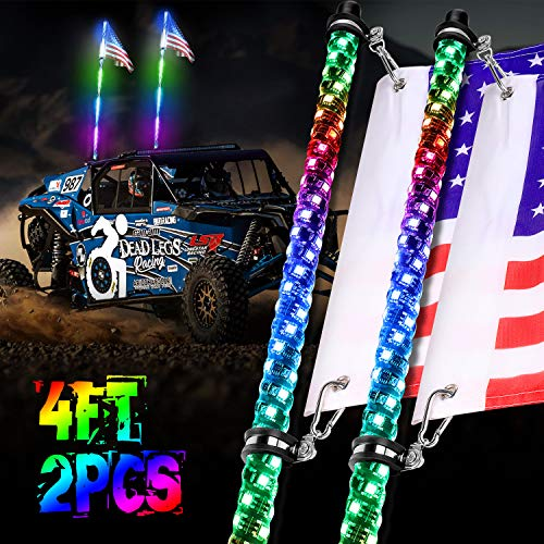 LED Whip Lights, OFFROADTOWN 2PCS 4FT RF Remote Control Spiral Lighted Whips RGB Dancing/Chasing Light Antenna LED Whips For ATV UTV RZR Off-Road Jeep Trucks 4X4 Buggy Dune