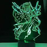 Luz nocturna 3D ilusión para Anime Agatsuma Zenitsu lámpara Demonio Slayer Luz de noche LED para decoración de dormitorio de Kimetsu No Yaiba Manga Regalo 7 Color Touch