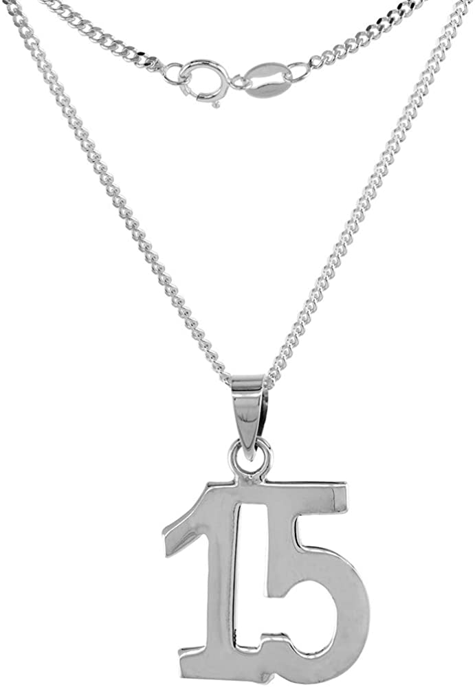 Sterling Silver Number 15 Necklace Numbers Jersey Recovery Selling rankings Rapid rise for