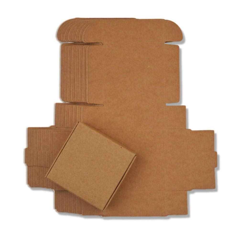 CTOBB - Caja de Regalo de cartón, tamaño pequeño, 21 tamaños, Color Blanco, Caja de cartón de Papel Kraft Hecha a Mano, Caja de jabón Artesanal, Plegable, marrón, 9.5x9.5x3cm: Amazon.es: Hogar