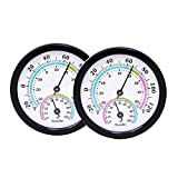 LayscoPro Mini Indoor Thermometer Hygrometer Analog 2 in 1 Temperature Humidity Monitor Gauge for Home, Room, Outdoor, Offices, Display Mechanical Diameter 75mm-2 Pack (No Battery Needed)-Black