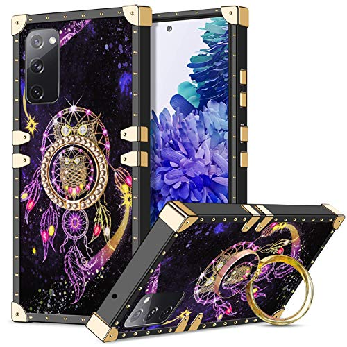 Wollony for Galaxy S20 FE Case 5G with Kickstand Ring Stand Square Metal Edge Retro Case for Women Girls Anti-Slip Shockproof Protective Cover Compatible with Galaxy S20 FE 6.5 Inch Owl
