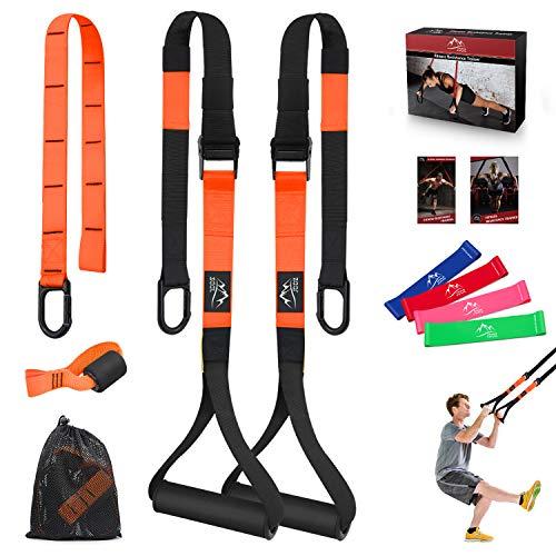 JDDZ Bodyweight Resistance Training Straps, Complete Fitness Trainer kit Included Door Anchor, Extension Strap, 16 Week Program, Fitness Guide, 4 Exercise Loop Bands (03-Orange)