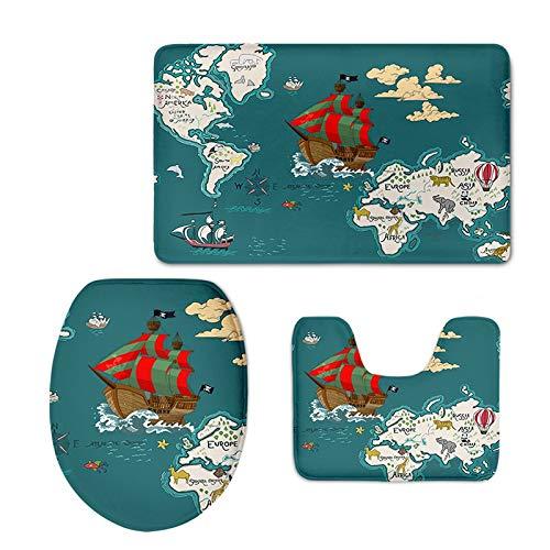 YSDDM badmat 3 stks Zoo kaart wc stoelbekleding tapijt badkamer set wereld kaart wc stoelbekleding antislip mat kerstversiering voor huis-in wc stoelhoezen van huis & tuin