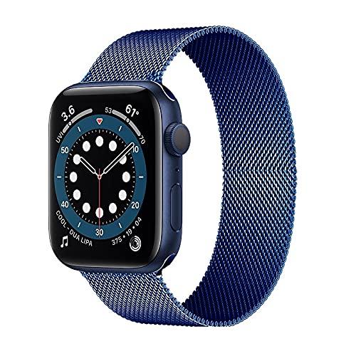 Hspcam Milanese Loop Correa para Apple Watch Band 44mm 40mm 38mm 42mm Acero inoxidable Metal pulsera correa iWatch series 6 5 4 3 se 2 1 (azul, 42mm o 44mm)