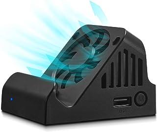 Switch ドック [2020最新&冷却ファン付き] 放熱 LEDライト付き TV出力 切り替え 直接にTV出力 小型 アダプター ドック替換 Switch ミニドック 充電スタンド 【HDMI変換/TVモード/テーブルモード】 切り替え T...