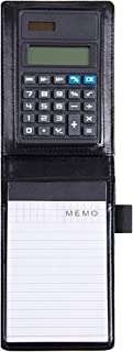 Monique A7 PU Leather Notebook Small Pocket Lined Memo Pad Steno Notepad 8 Digital Calculator Pen Holder Loop Black